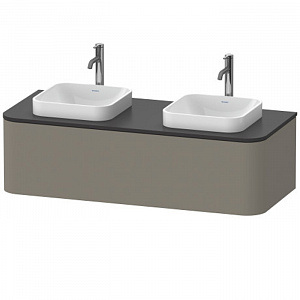 Duravit Happy D.2 Plus Тумба подвесная 1300x550х354мм, с 2 раковинами и 1 ящиком, цвет: stone grey satin matt